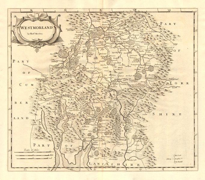Associate Product Westmoreland. 'WESTMORLAND' by ROBERT MORDEN from Camden's Britannia 1772 map