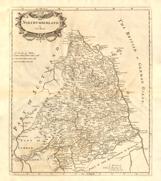 Associate Product NORTHUMBERLAND. by ROBERT MORDEN from Camden's Britannia 1772 old antique map