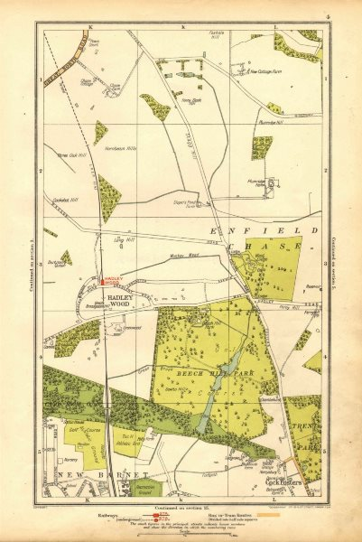 Associate Product ENFIELD CHASE. Cockfosters, Hadley Wood, New Barnet, Beech Hill Park 1928 map
