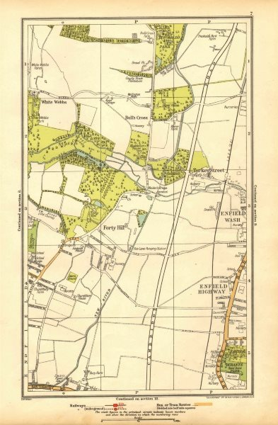 Associate Product ENFIELD.Bull's Cross,Enfield Wash,Forty Hill,White Webbs,Freezy Water 1928 map