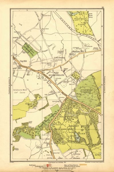 Associate Product HERTS.Busheyheath,Caldecote Hill,Clay Hill,Little Bushey,Stanmore Cmn 1928 map