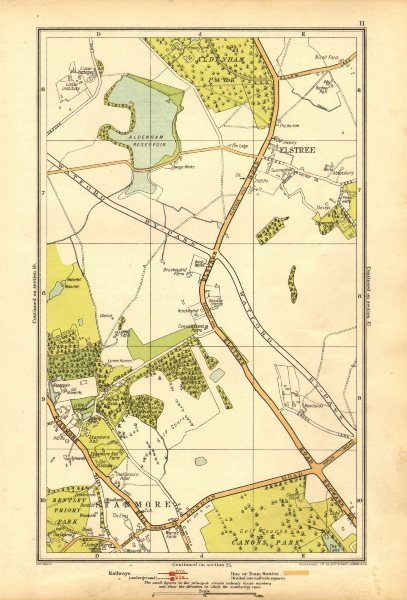 Associate Product HERTS. Elstree, Stanmore, Edgware, Aldenham Park, Canons Park 1928 old map