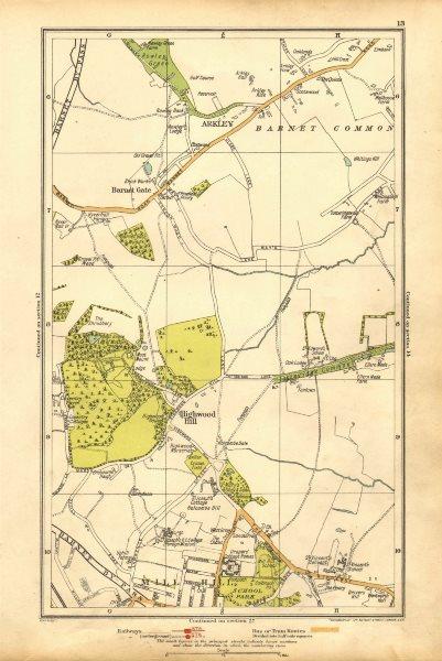Associate Product LONDON. Arkley, Barnet Gate, Highwood Hill, Mill Hill 1928 old vintage map