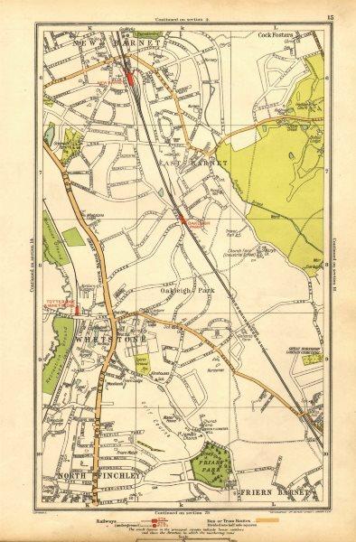 Associate Product EAST BARNET. Friern Barnet;Whetstone, Finchley,Cockfosters,Totteridge 1928 map
