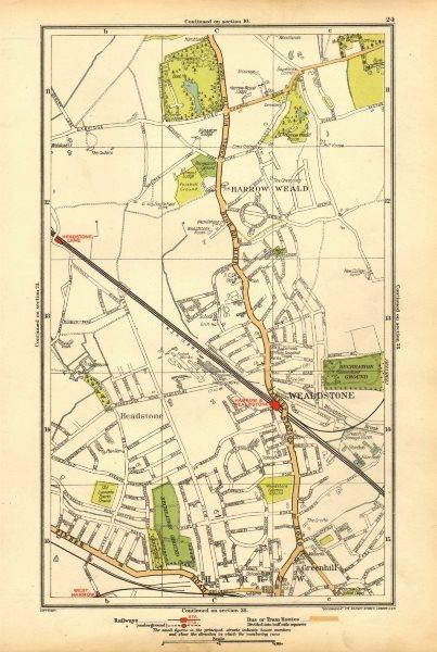 Associate Product HARROW. Stanmore, Wealdstone, Greenhill, Weald, Headstone Lane 1928 old map