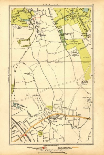 Associate Product KENTON. Belmont, Stanmore, Canons Park, Edgware 1928 old vintage map chart