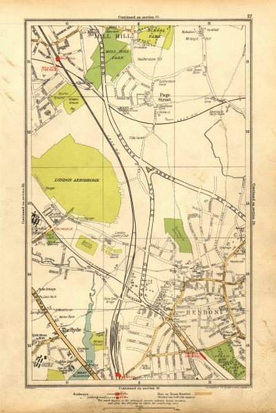 Associate Product HENDON. The Hyde, Mill Hill, Colindale, Edgware, Southfields 1928 old map