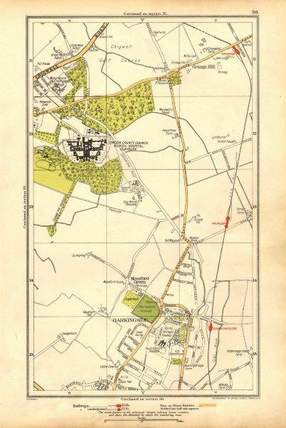 Associate Product LONDON. Barkingside, Grange Hill, Mossford Green, Fairlop 1928 old vintage map