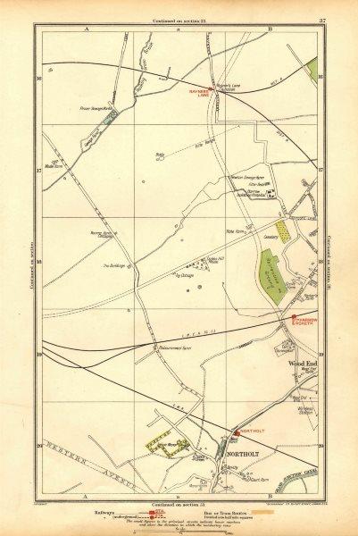 Associate Product NORTHOLT. South Ruislip,Harrow,Rayner's Lane,Wood End,Northolt Park 1928 map