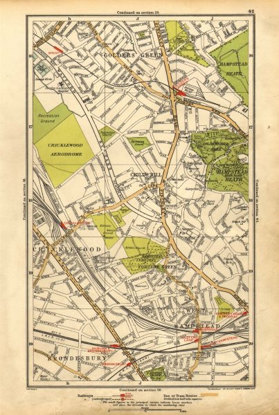 Associate Product CRICKLEWOOD. Brondesbury,Fortune/Golders Green,Hampstead,Child's Hill 1928 map