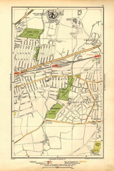 Associate Product LONDON.Becontree,Goodmayes,Seven Kings,Chadwell Heath,Longbridge Rd 1928 map
