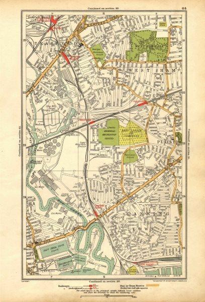 Associate Product LONDON. Canning Town,Stratford,West Ham,Plaistow,Blackwall,Poplar 1928 old map