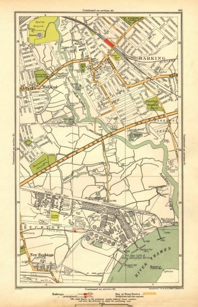 Associate Product LONDON. Barking, Beckton, Cyprus, New Beckton, Wall End 1928 old vintage map