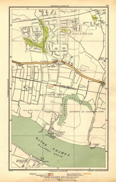 Associate Product LONDON. Dagenham, Hornchurch, Thamesmead, Dagenham Dock 1928 old vintage map