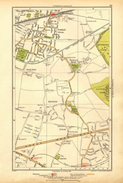 Associate Product HESTON. Hounslow,Lampton,Norwood Green,Southall,North Hyde,Sutton 1928 old map