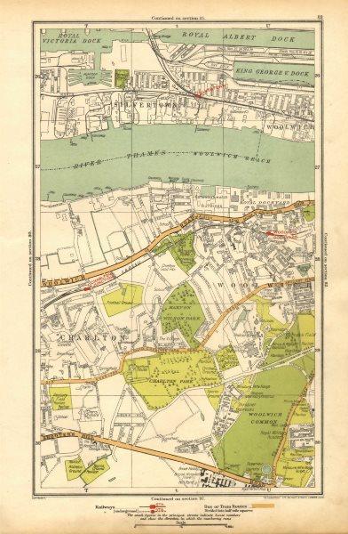 Associate Product LONDON. Charlton, Greenwich, Silvertown, Woolwich Dockyard 1928 old map