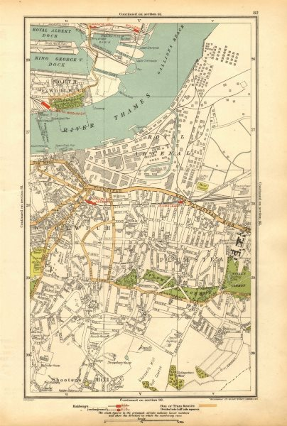 Associate Product LONDON. North Woolwich,Plumstead,Gallions,Manor Way,Woolwich Arsenal 1928 map
