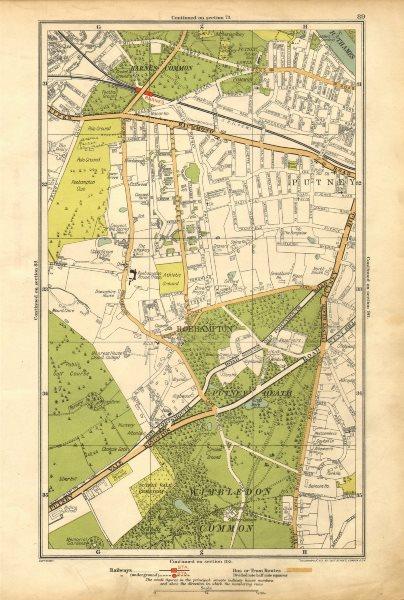 Associate Product LONDON. Putney Vale,Roehampton,Barnes,Roehampton Park,Barnes Common 1928 map