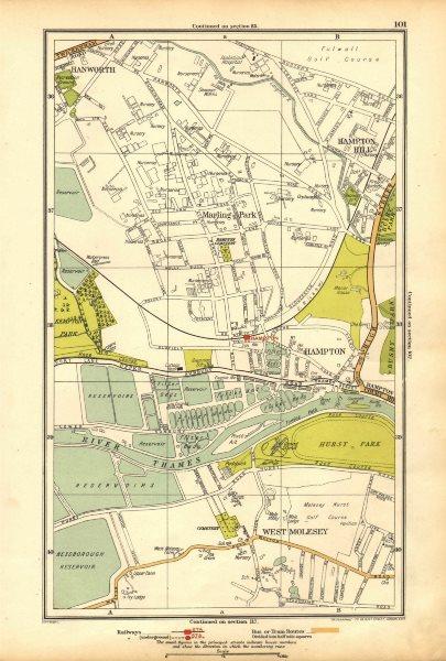 Associate Product HAMPTON. Hampton Hill, Marling Park,West Molesey,Hanworth,Hurst Park 1928 map