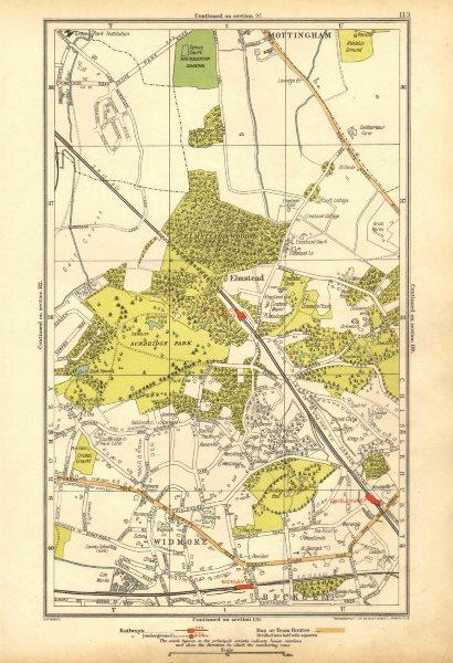 Associate Product LONDON.Bickley,Elmstead,Widmore,Mottingham,Chislehurst,Chalkpit Wood 1928 map