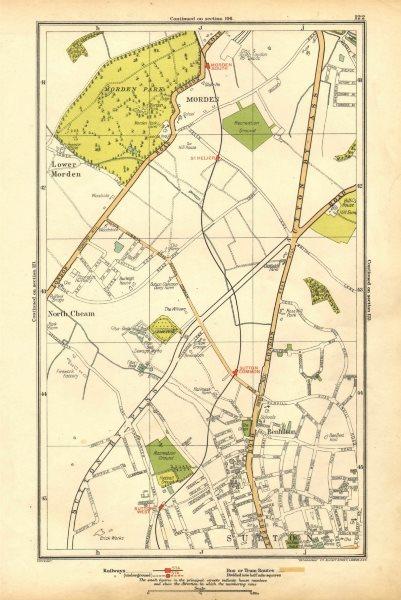 Associate Product SUTTON. Benhilton, North/Lower Morden Park, Cheam, St Helier; Surrey 1928 map