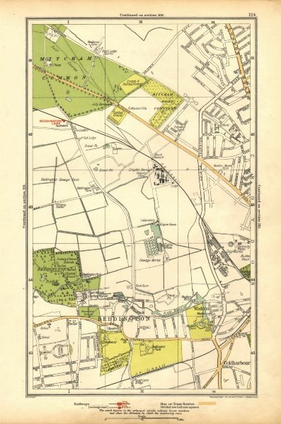 Associate Product SURREY. Beddington Lane, Coldharbour, Sandhills, Waddon, Ampere Way 1928 map