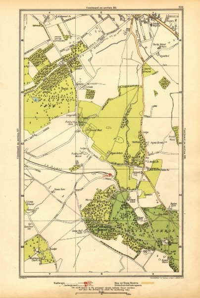 Associate Product KENT. Bromley, Hayes, Beckenham, West Wickham, Shortlands, Keston 1928 old map