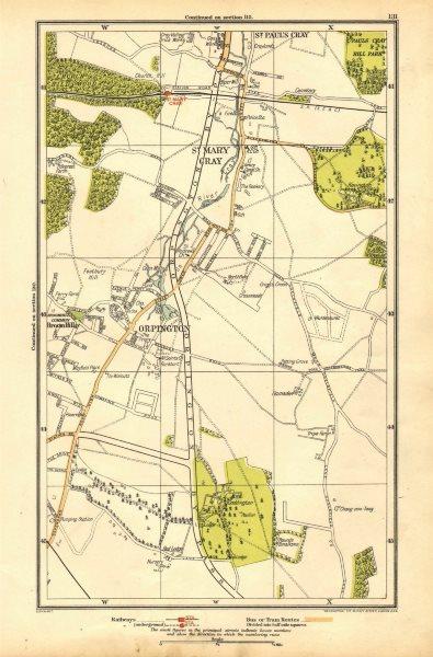Associate Product ORPINGTON. St Mary Cray, St Paul's Cray, Broom Hill, Goddington 1928 old map