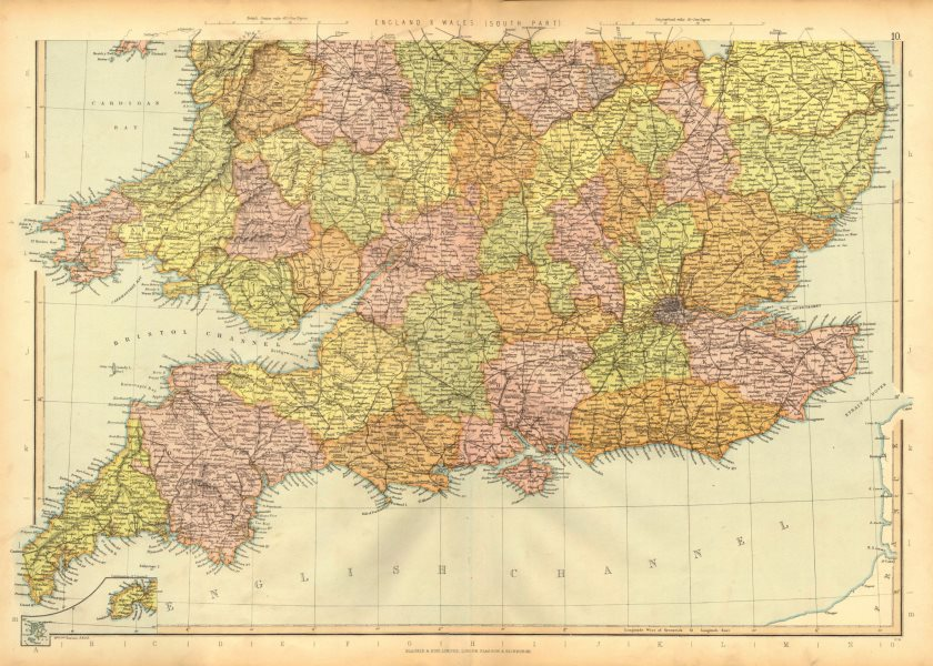 ENGLAND & WALES. South. Showing railways & counties. BLACKIE 1893 old map