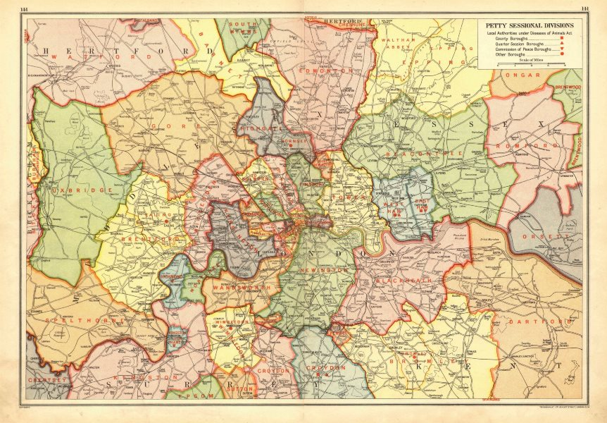 Associate Product LONDON. Petty Sessional Divisions. Local authorities. Boroughs 1928 old map