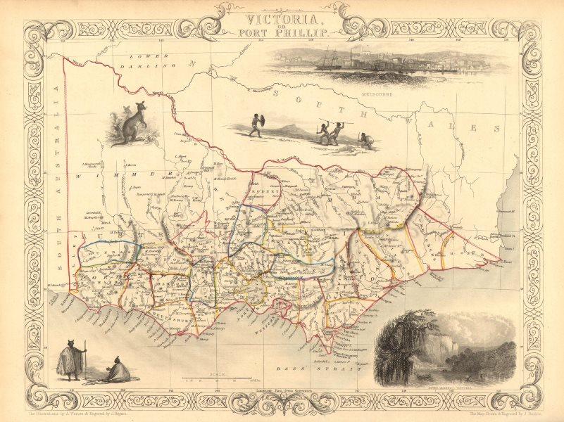 Associate Product VICTORIA OR PORT PHILIP'. Showing Goldfields. Australia.TALLIS/RAPKIN 1851 map