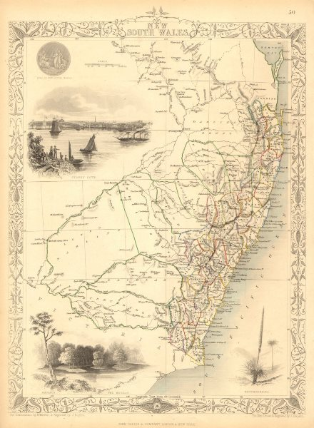 Associate Product NEW SOUTH WALES. w/ Mitchell/Leichhardt explorers routes.TALLIS/RAPKIN 1851 map