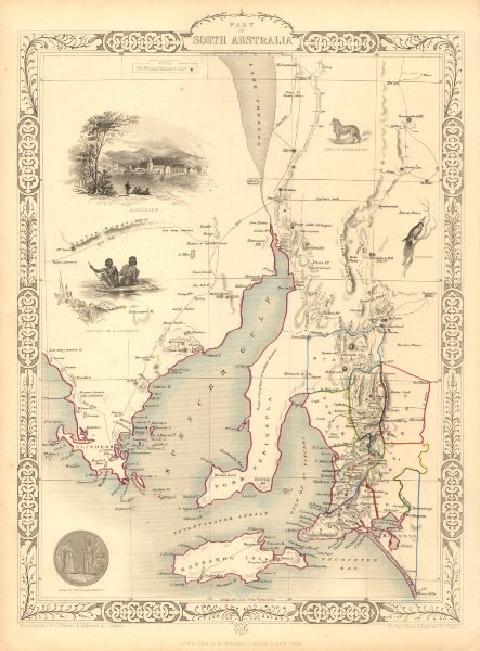 Associate Product PART OF SOUTH AUSTRALIA'. Shows mining districts.  TALLIS/RAPKIN 1851 old map