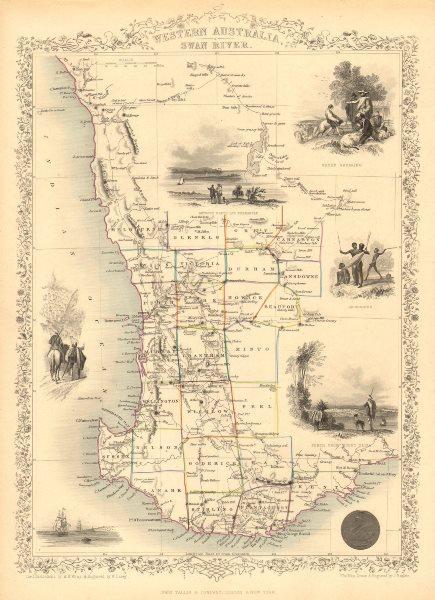 Associate Product WESTERN AUSTRALIA,SWAN RIVER.Helpman Gregory Gray routes.TALLIS/RAPKIN 1851 map