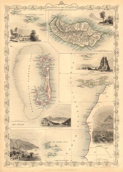 Associate Product ATLANTIC ISLANDS. Bermuda Madeira Canaries.Tenerife view.TALLIS/RAPKIN 1851 map