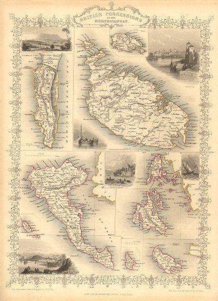 Associate Product BRITISH MEDITERRANEAN POSSESSIONS. Gib Malta Corfu Zante.TALLIS/RAPKIN 1851 map