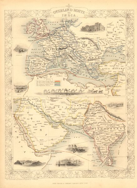 Associate Product OVERLAND ROUTE TO INDIA. Ship France Germany Euphrates.TALLIS/RAPKIN 1851 map
