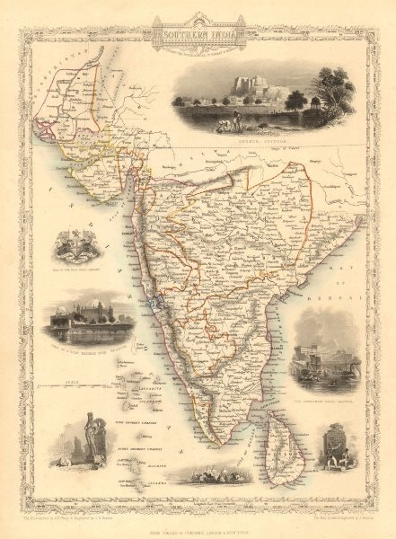 Associate Product SOUTHERN INDIA. Amber Fort, Jaipur & Gol Gumbaz, Bijapur.TALLIS/RAPKIN 1851 map