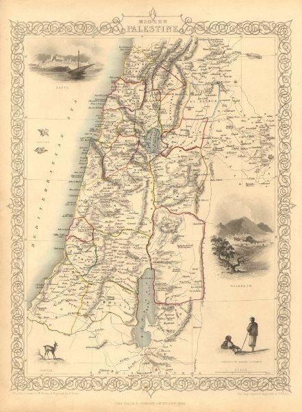 Associate Product PALESTINE. Jaffa/Tel Aviv Nazareth views.Jordan Lebanon.TALLIS/RAPKIN 1851 map
