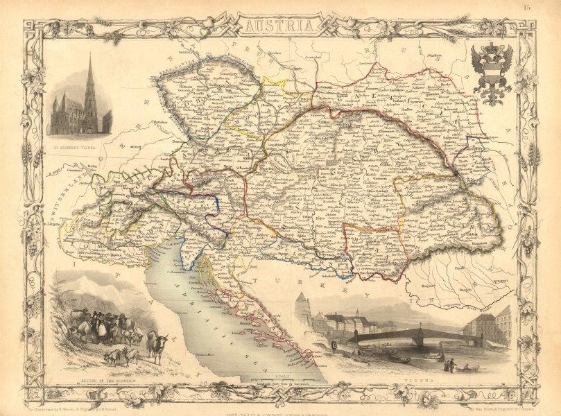 Associate Product AUSTRIAN EMPIRE. 'Austria'.Vienna views.Hungary Lombardy TALLIS/RAPKIN 1851 map