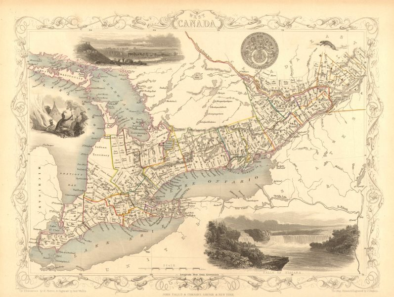 Associate Product WEST CANADA'. Southern Ontario. Shows'Indian territory' TALLIS/RAPKIN 1851 map