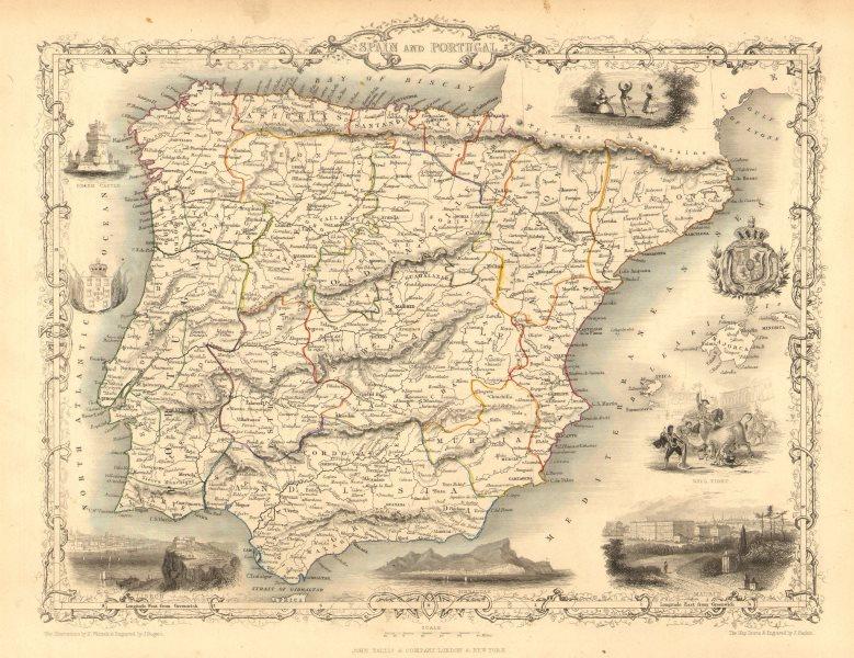 Associate Product SPAIN & PORTUGAL. Madrid Lisbon Gibraltar views. Iberia TALLIS/RAPKIN 1851 map