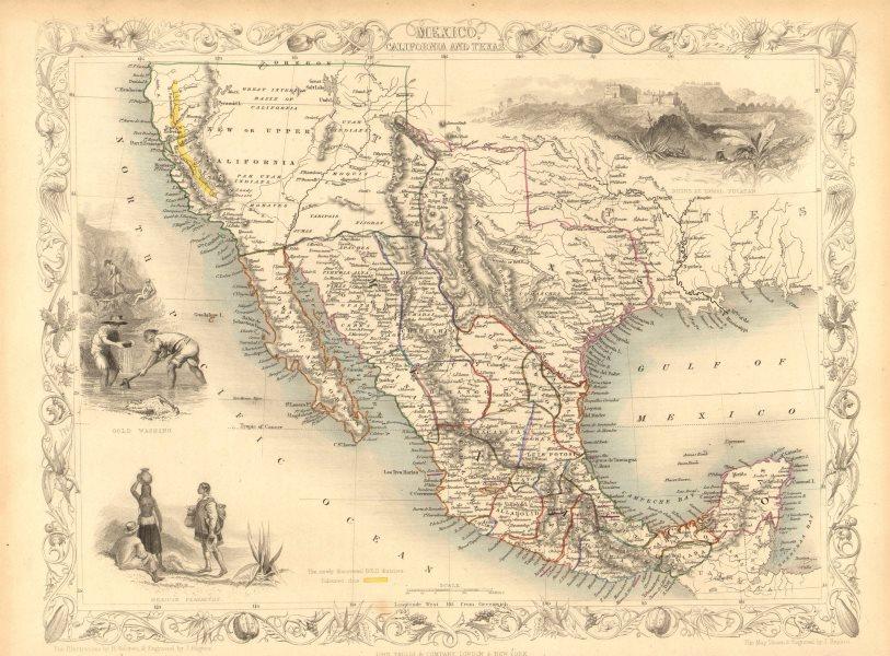 Associate Product MEXICO CALIFORNIA TEXAS. Gold rush district. TX Republic.TALLIS/RAPKIN 1851 map