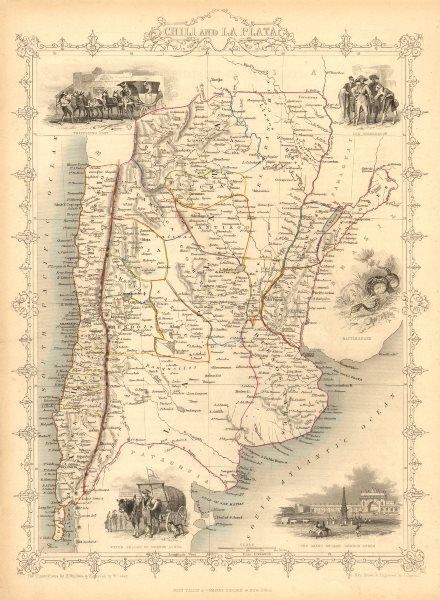 Associate Product CHILI AND LA PLATA'. Central Chile & Argentina. TALLIS/RAPKIN 1851 old map