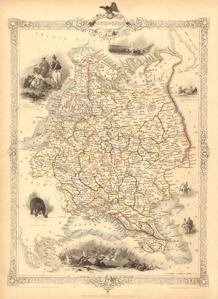 Associate Product RUSSIA IN EUROPE. Oblasts.Ukraine Baltics Finland Poland.TALLIS/RAPKIN 1851 map