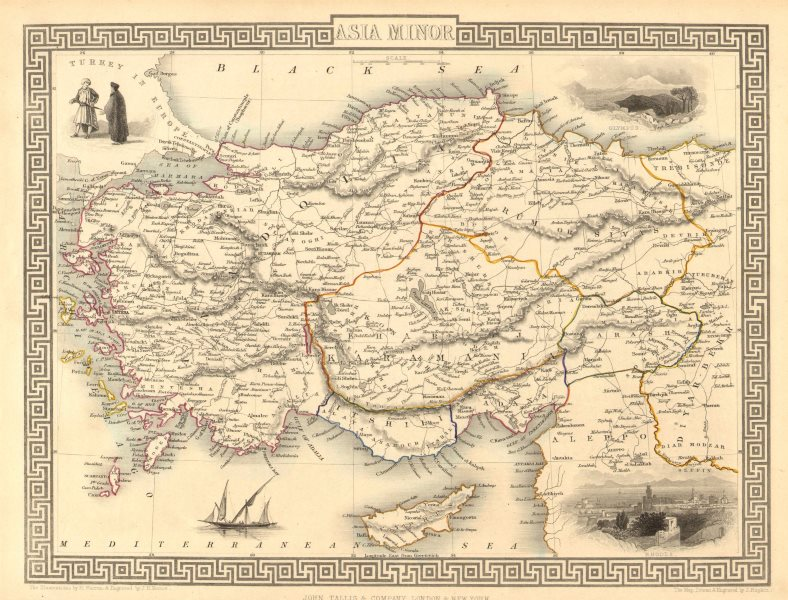 Associate Product ASIA MINOR'. Turkey Cyprus Dodecanese. Rhodes view. TALLIS/RAPKIN 1851 old map