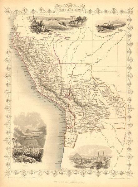 Associate Product PERU & BOLIVIA. Bolivia with Atacama litoral.Potosi view TALLIS/RAPKIN 1851 map