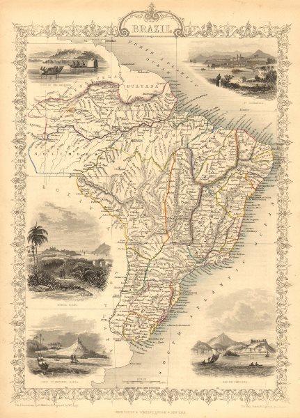 Associate Product BRAZIL. Uruguay as part of Brazil. Rio de Janeiro view TALLIS/RAPKIN 1851 map