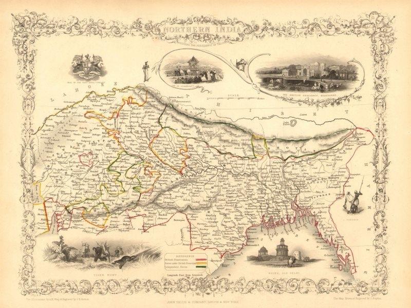 Associate Product NORTHERN INDIA. British colonies &c. Nepal Bhutan Bengal.TALLIS/RAPKIN 1851 map