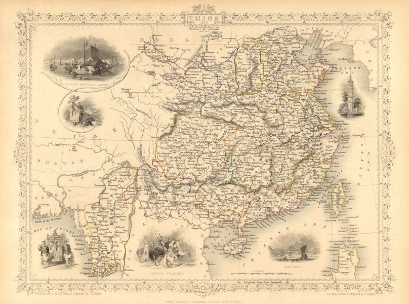 Associate Product CHINA & BURMAH. Hong Kong vignette. Burma Formosa Taiwan.TALLIS/RAPKIN 1851 map
